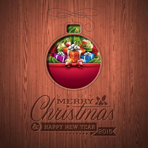 Design tipografico inciso Buon Natale e felice anno nuovo con elementi di vacanza vettore