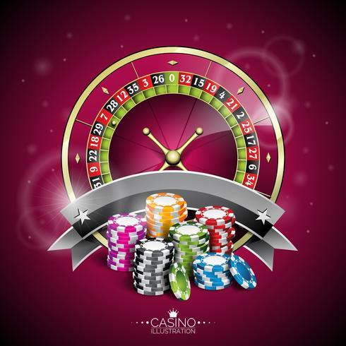 Vector l'illustrazione su un tema del casinò con la ruota della roulette e giocando i chip