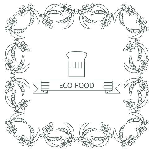 Telaio, piselli organici delle icone del confine. vettore