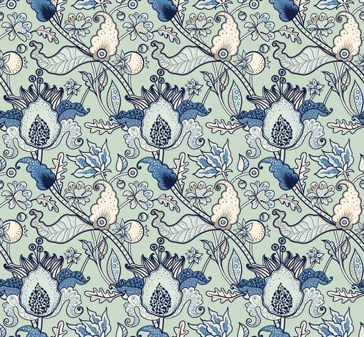 Ornamento nazionale indiano paisley per cotone, tessuti di lino. vettore