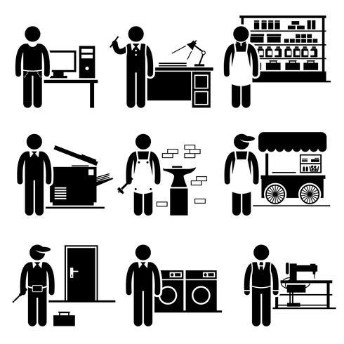 Lavoro autonomo Piccole occupazioni di lavoro Carriere. vettore