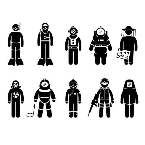 Scuba Diving Dive Deep Sea Spacesuit Biohazard Apicoltore Bomba nucleare Airforce SWAT Vulcano vestito protettivo Gear uniforme indossare figura stilizzata pittogramma icona. vettore