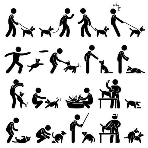 Pittogramma di addestramento del cane. vettore