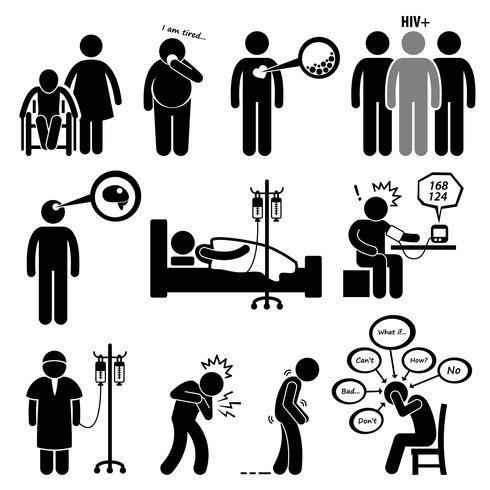 Man Common Disease and Illness Stick Figure Pictogram Icon Clipart. vettore