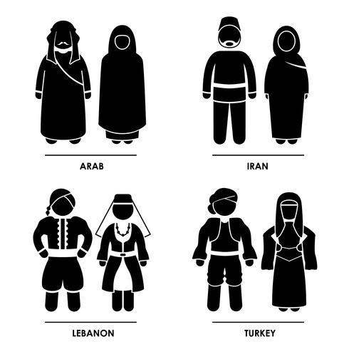 Abbigliamento costume tradizionale Asia occidentale .. vettore