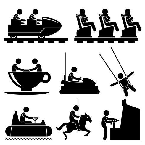 Parco a tema di divertimento che gioca icona del pittogramma figura stilizzata. vettore
