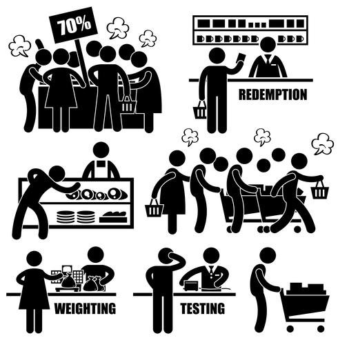 Supermercato mercato Shoppers Crazy Rushing Shopping promozione uomo figura stilizzata pittogramma icona. vettore