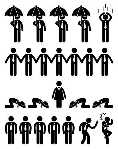 Concetto di situazione di finanza aziendale nel pittogramma dell'icona del posto di lavoro dell'ufficio. vettore
