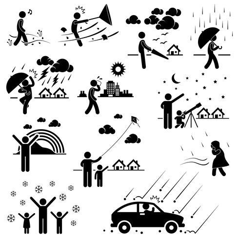Meteo Clima Atmosfera Ambiente Meteorologia Stagione Man Stick Figure Pictogram Icon. vettore