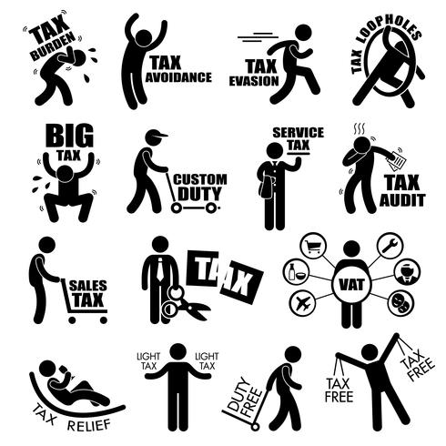 Tax Tax Tax Tax Concept Stick Figure Pictogram Icon Cliparts. vettore