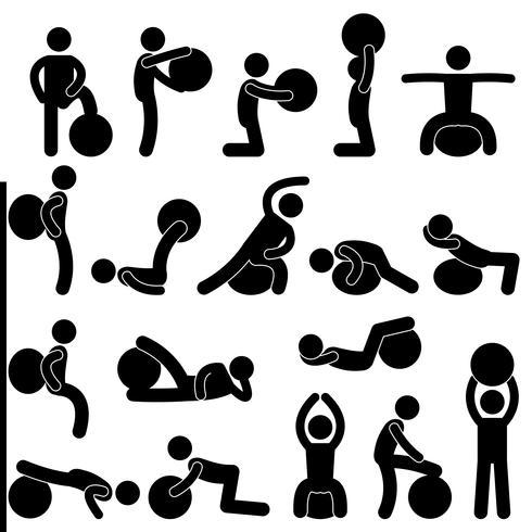 Allenamento di esercizio di allenamento della palla di forma fisica della palestra dell'uomo. vettore