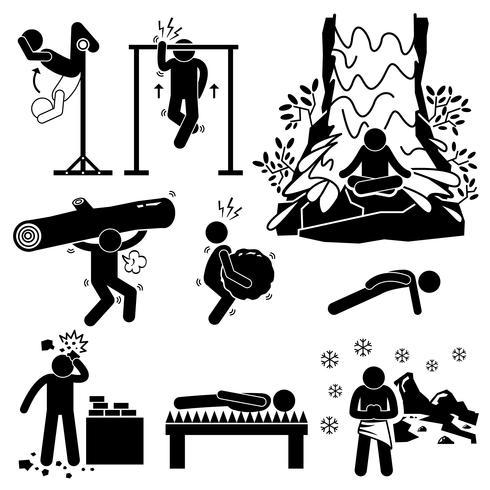 Icone di figura stilizzata pittogramma di eremita estremo fisico e di formazione mentale vettore