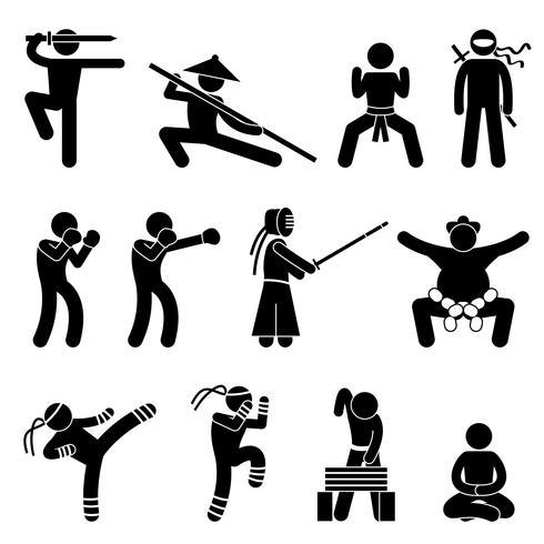 Kung Fu arti marziali autodifesa cinese Wushu Ninja Boxer Kendo Sumo Muay Thai icona simbolo segno pittogramma. vettore