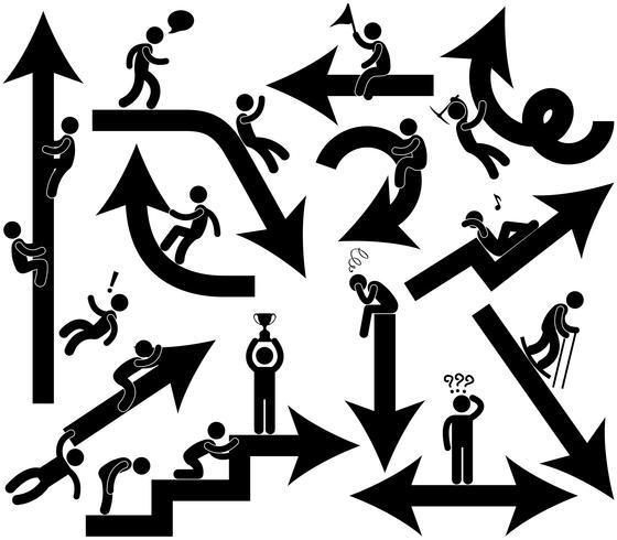 Icona di simbolo del segno della freccia di emozione di affari. vettore