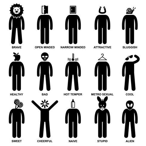 Man Characteristic Behavior Mind Attitude Identità Personalità Stick Figure Pittogramma Icona. vettore