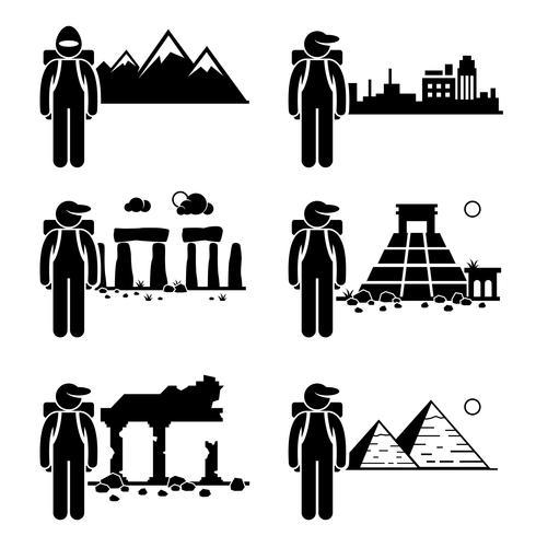 Explorer Adventure at Snow Mountain City Antiche rovine Stone Temple Egitto Piramide Stick Figure pittogramma icona. vettore
