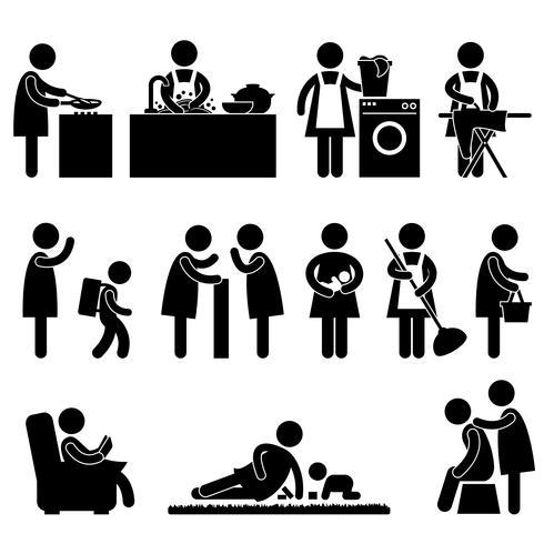 Pittogramma quotidiano del segno dell'icona della routine della madre della moglie della donna. vettore