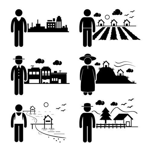 Persone in città Cottage House Small Town Highlands Seaside Village Home figura stilizzata pittogramma icona. vettore