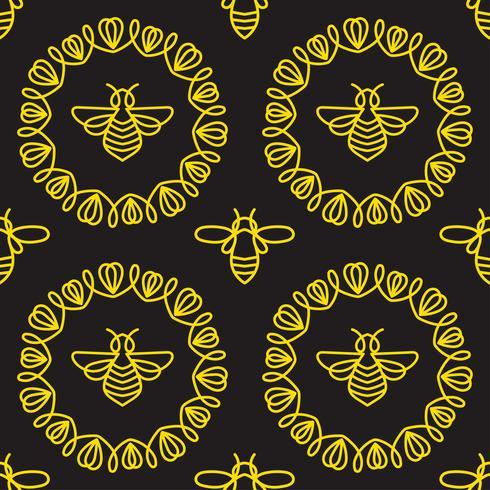 Modello senza cuciture con ape vettore