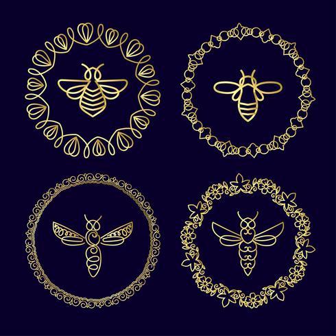 Insetto Badge Bee per identità aziendale vettore