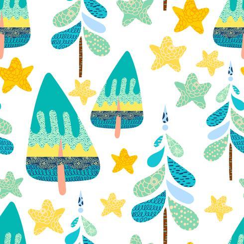 Inverno seamless con una foresta di Natale. vettore