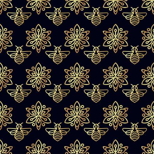 Modello senza cuciture con oro Bee vettore