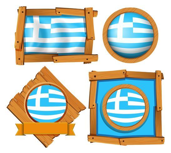 Bandiera della Grecia in diverse cornici vettore