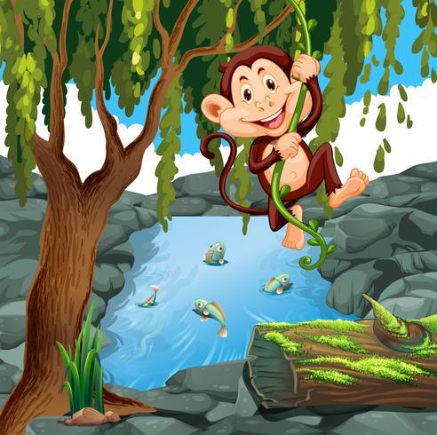 Scimmia rampicante nella foresta vettore