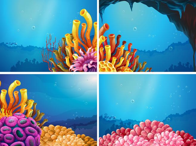 Quattro scene sotto l'oceano vettore