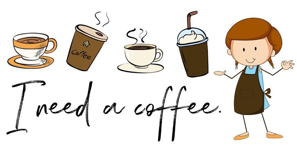 Diversi tipi di caffè e frase ho bisogno di caffè vettore