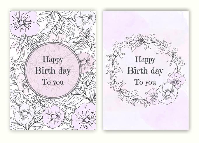 Cornice disegnata a mano floreale per un invito giorno di nascita vettore