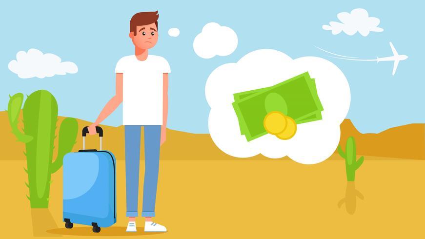 Il ragazzo del viaggio senza soldi vettore