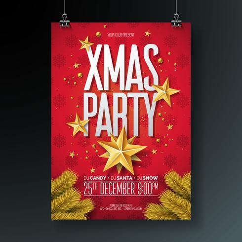 Vector Merry Christmas Party Flyer illustrazione con elementi di tipografia vacanza e oro palla ornamentale, stella di carta del ritaglio su sfondo rosso.