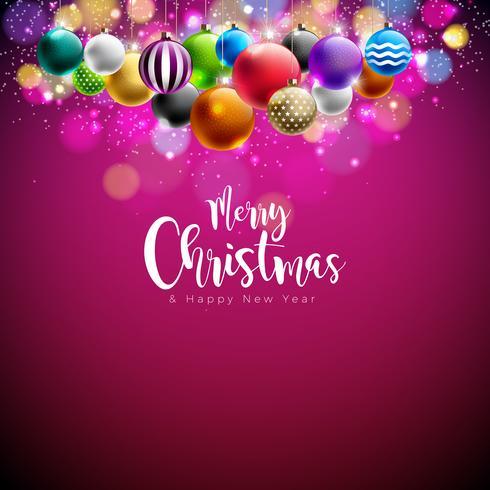 Vector Merry Christmas Illustration con palline multicolori ornamentali su sfondo rosso lucido. Felice anno nuovo design per Greeting Card, Poster, Banner.