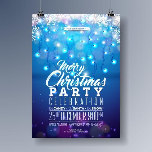 Progettazione di volantino festa di buon Natale vettoriale con elementi di tipografia vacanza, fiocco di neve e ghirlanda di luce su sfondo blu lucido. Illustrazione dell'invito del manifesto di celebrazione.