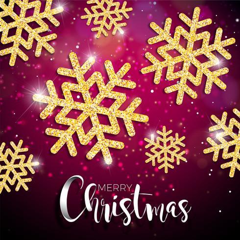 Illustrazione di Natale di vettore con tipografia e lucido oro fiocco di neve su sfondo rosso di illuminazione. Vector Holiday Design.