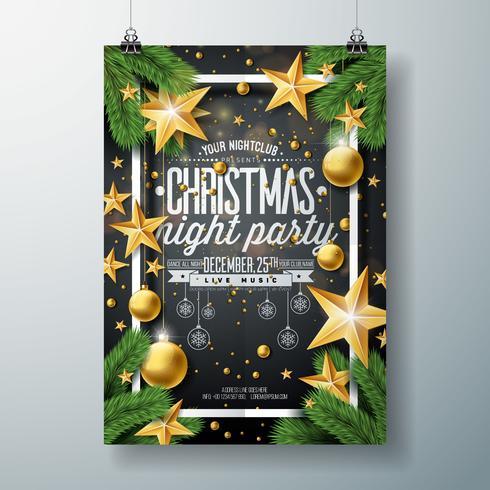 Progettazione di festa di buon Natale vettoriale con elementi di tipografia di vacanza e palle ornamentali, stella di carta del ritaglio, ramo di pino su sfondo nero. Illustrazione di volantino di celebrazione. EPS 10.