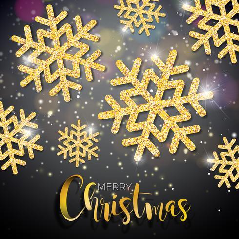 Illustrazione di Natale di vettore con tipografia e lucido oro fiocco di neve su sfondo di illuminazione. Vector Holiday Design.