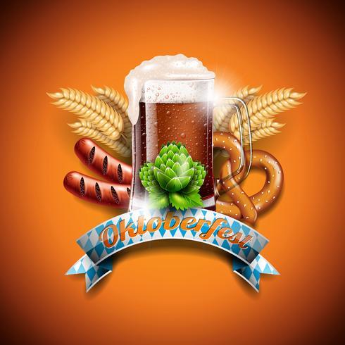 Illustrazione vettoriale Oktoberfest con birra scura fresca su sfondo arancione. Banner di celebrazione per il tradizionale festival della birra tedesca.