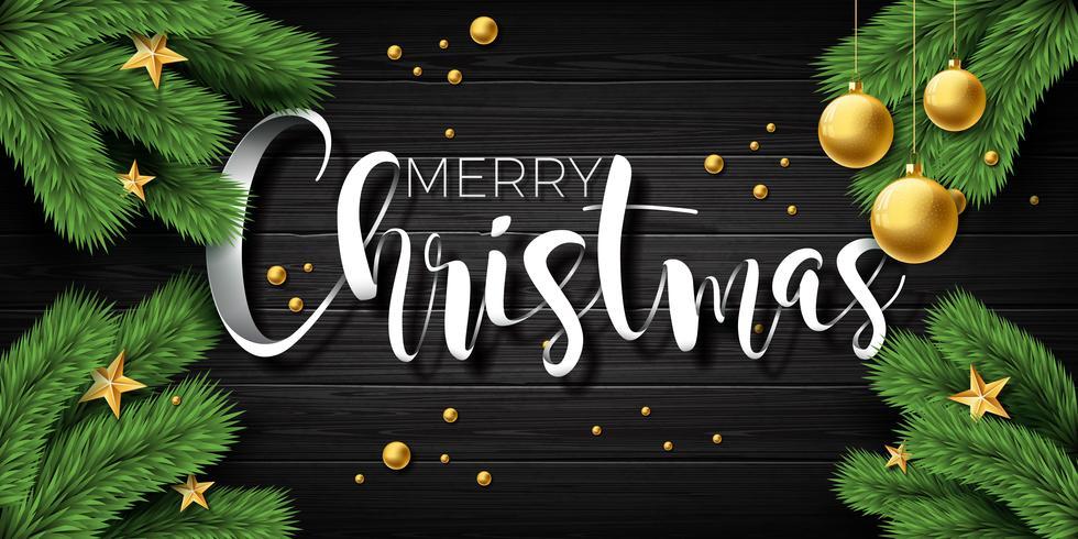 Illustrazione di buon Natale di vettore su priorità bassa di legno dell'annata con elementi tipografici e vacanze. Stelle, ramo di pino e palla ornamentale. EPS 10 design.