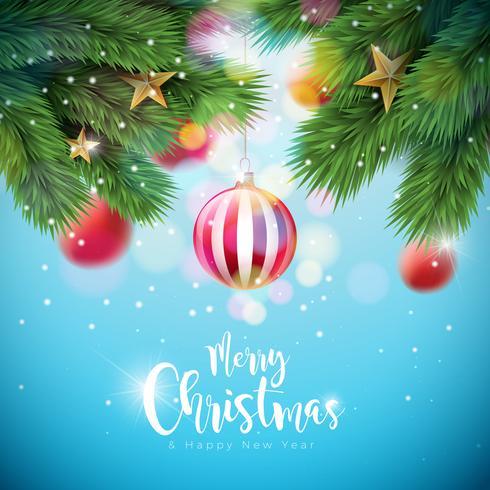 Illustrazione vettoriale di buon Natale con palle ornamentali e ramo di pino su sfondo blu lucido. Disegno di tipografia di felice anno nuovo per biglietto di auguri, poster, banner.