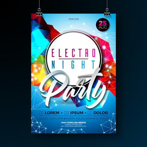 Progettazione del manifesto del partito di ballo di notte con le forme geometriche moderne astratte su fondo brillante. Modello di discoteca electro style per l'invito di flyer di eventi di musica astratta o banner promozionale. vettore