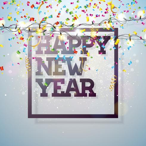 Vector l'illustrazione 2018 del buon anno con progettazione di tipografia e ghirlanda leggera sul fondo brillante dei coriandoli. Holiday Design per Premium Greeting Card, Party Invitation o Promo Banner.