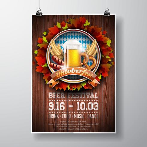 Illustrazione di vettore del manifesto di Oktoberfest con birra chiara fresca sul fondo di legno di struttura. Modello di volantino di celebrazione per il tradizionale festival della birra tedesca.