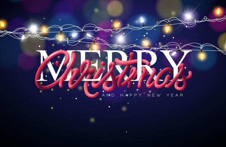 Illustrazione di Buon Natale con la progettazione di tipografia della metropolitana intrecciata e la ghirlanda di illuminazione su sfondo blu lucido. Vector Holiday EPS 10 design.