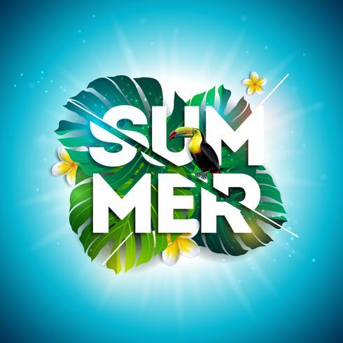 Progettazione di saldi estivi con fiore, Tucano e foglie esotiche su sfondo blu. Illustrazione floreale tropicale di vettore con gli elementi di tipografia di offerta speciale per il buono