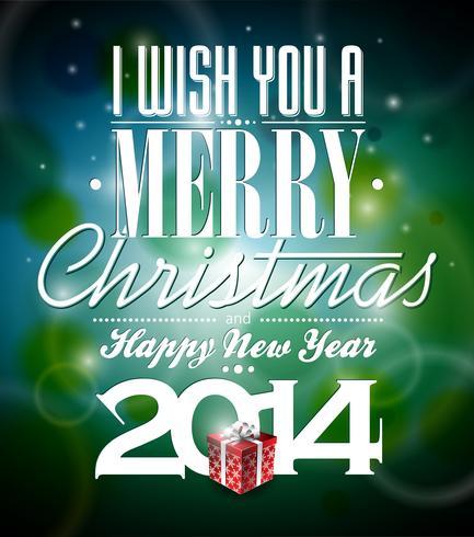 Vector l'illustrazione di Natale con la progettazione tipografica e contenitore di regalo su fondo brillante
