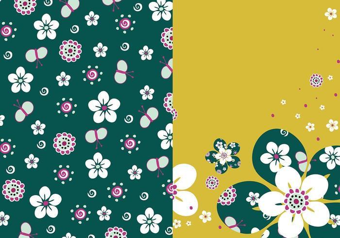Pacchetto carta da parati floreale vettore smeraldo