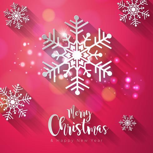 Vector Buon Natale e felice anno nuovo illustrazione su sfondo Shiny Snowflake con tipografia elemento e lunga ombra. Holiday Design per Premium Greeting Card, Party Invitation o Promo Banner.