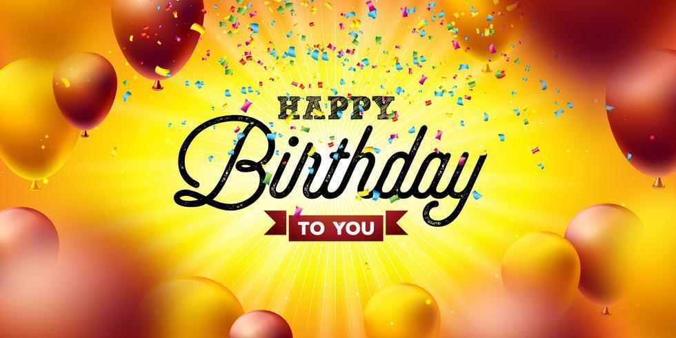 Buon compleanno disegno vettoriale con palloncino, tipografia e coriandoli che cade su sfondo giallo. Illustrazione per la festa di compleanno. biglietti di auguri o poster di festa.